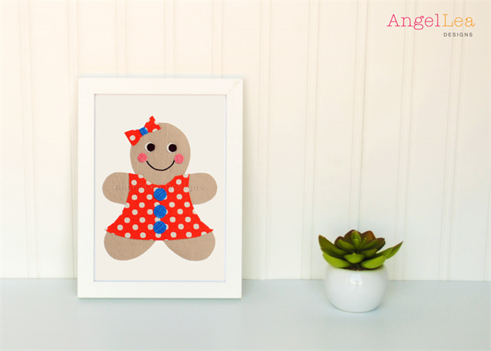 gingerbread girl applique template pdf pattern girls applique