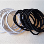 20 x thin hair tie elastics - white and black