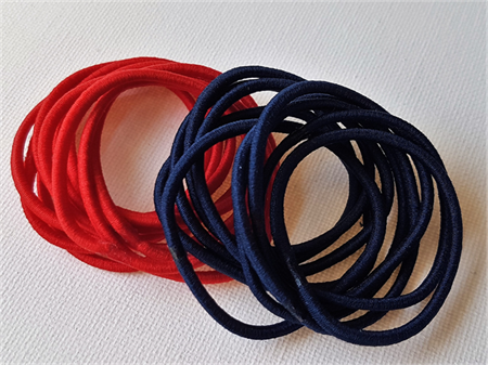 20 x thin hair tie elastics - red & navy blue