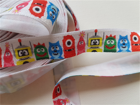 Fun Monsters FOE - cute monsters on white - hair ties - 5 yards (4.5M)
