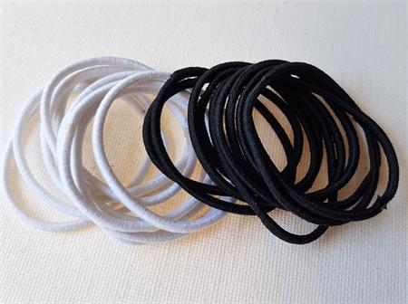 20 x thin hair tie elastics - white and black