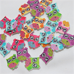 30 Owl Buttons - Assorted Colours