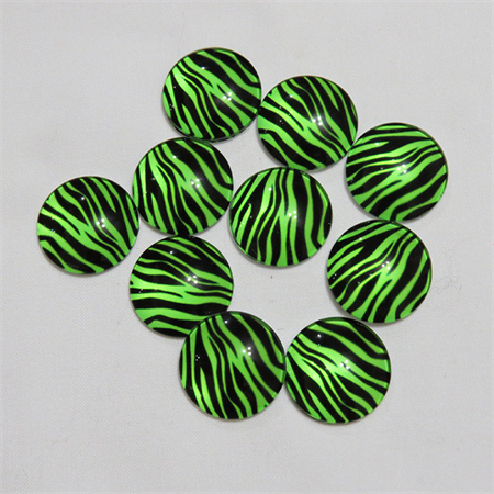 10 Green Zebra Glass Cabochon