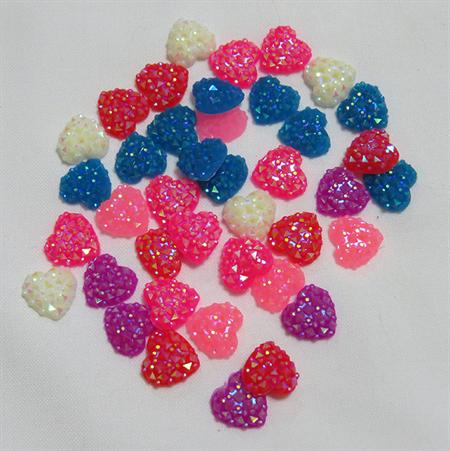 20 Sparkly Heart Embellishments