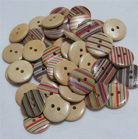 30 Stripe Buttons - Assorted Colours