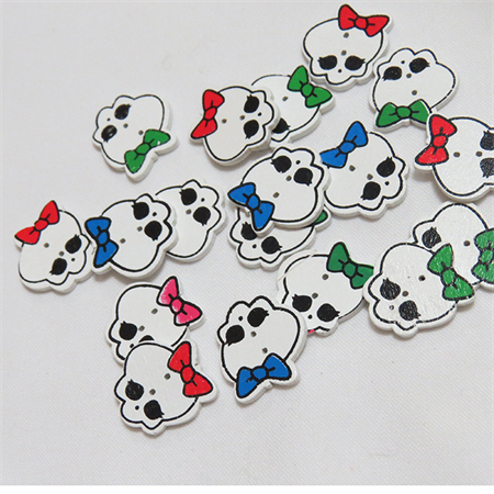 30 Skull Buttons - Assorted Colours
