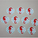 20 MM SEAHORSE GLASS CABOCHONS - 10 PACK