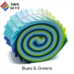 "20 x 2.5"" Blues & Greens Jelly Roll, Precut Fabric Strips, Cotton"