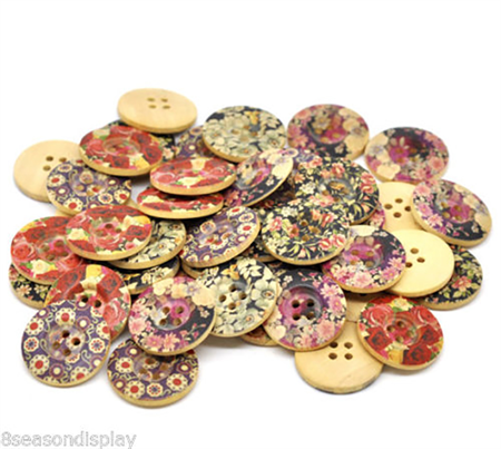 25 Wooden Floral Buttons