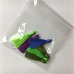 6 blue & green 5mm tassels