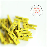 Yellow Mini Pegs {50} | Wood | Gift Wrap Scrapbooking