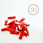 Red Mini Pegs {50} Wood | Photo Prop | DIY Supplies | Holiday Decor | Christmas