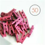 Pink Mini Pegs {50} | Wood Embellishments Gift Wrap Scrapbooking