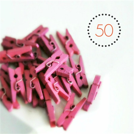 Pink Mini Pegs {50} | Wood Embellishments Gift Wrap Scrapbooking