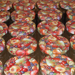 Glass jars with Fruit pattern lids