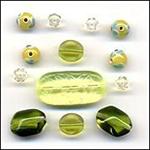 Grasshopper Glass Beads Mix Fashion Flair Beads Green Clear