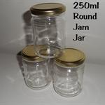 Glass jars with gold twist top lids x 24