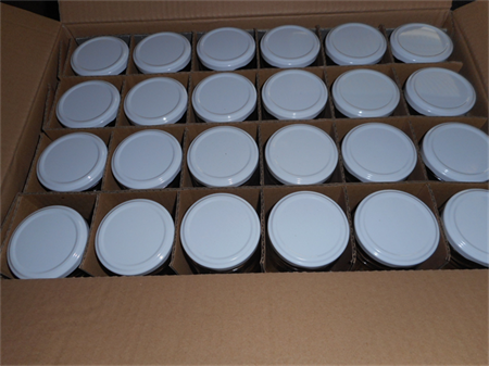 Glass jars with white lids