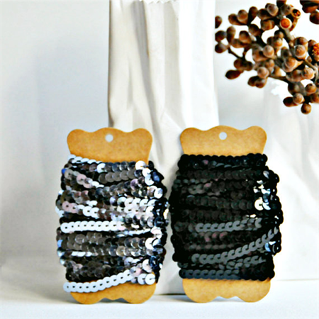 Black Sequin Ribbon Trim {5.0m} | DIY Craft Supply | Wedding Christmas Wrap