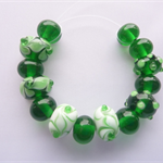Lampwork Glass Bead Set in emerald green and white. 15 beads.