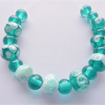 Lampwork Glass Bead Set, in teal and white. 19 beads,