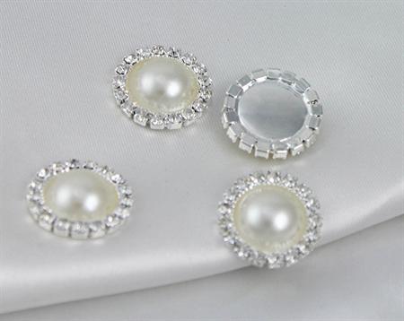 5 x Ivory Faux Pearl Rhinestone and Silver flatback Embellishments