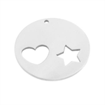 Stainless Steel Stamping Blank - Heart and Star