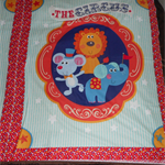 Cot quilt panel and backing (Circus)