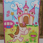 Cot quilt panel and backing (Unicorn)
