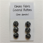 6x kimono fabric covered buttons- 12mm diameter with shank back