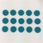 15 x Polkadot Buttons | 18 mm | Teal Blue with Green Spots | Plastic | 2 Holes