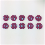 10 x Polkadot Buttons | 18 mm | Maroon with Pale Blue Spots | Plastic | 2 Holes