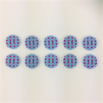 10 x Polkadot Buttons | 18 mm | Light Blue with Pink Spots | Plastic | 2 Holes