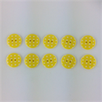 10 x Polkadot Buttons | 18 mm | Yellow with White Spots | Plastic | 2 Holes