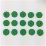 15 x Polkadot Buttons | 18 mm | Green with Teal Blue Spots | Plastic | 2 Holes