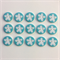 15 x Flower Buttons   16 mm   Turquoise   White   Flowers   Plastic   2 Holes