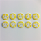 10 x Flower Buttons   16 mm   Yellow   White   Flowers   Plastic   2 Holes