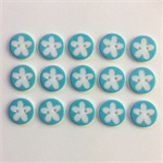 15 x Flower Buttons | 16 mm | Turquoise | White | Flowers | Plastic | 2 Holes