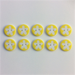 10 x Flower Buttons | 16 mm | Yellow | White | Flowers | Plastic | 2 Holes