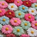 MIXED GLITTER RESIN FLOWERS - 50 pack