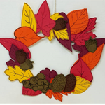 Leaf Wreath Printable Papercraft, Craft for adults and children, Decorations