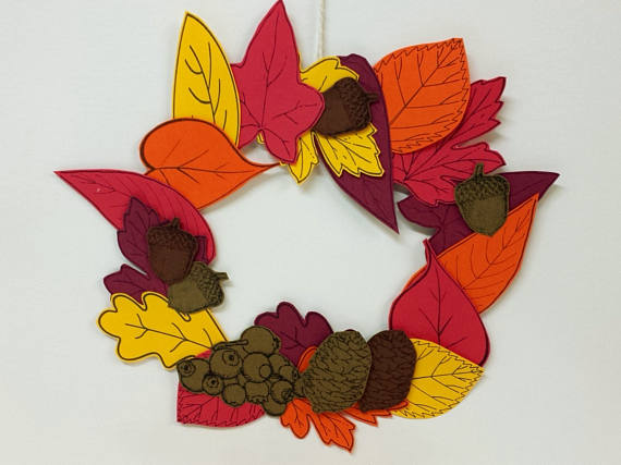 Leaf wreath printable papercraft craft for adults and for Leaf crafts for adults