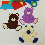 Teddy Bear Printable Papercraft, Applique Pattern, DIY all ages craft