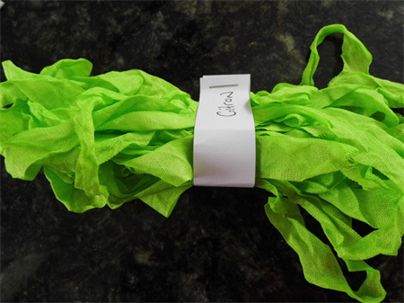 Hand Dyed Crinkle Ribbon - Citron