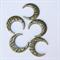 5 Bronze Tone Moon Pendants