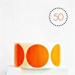 Orange Circle Stickers {50} Large 50mm   Gift Envelope Seals DIY Supplies Events