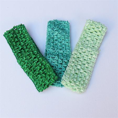 3 Green Crochet Headbands