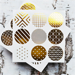 Geo {54} Gold Foil Print Seals | Round Gold Stickers | Gold Envelope Seals