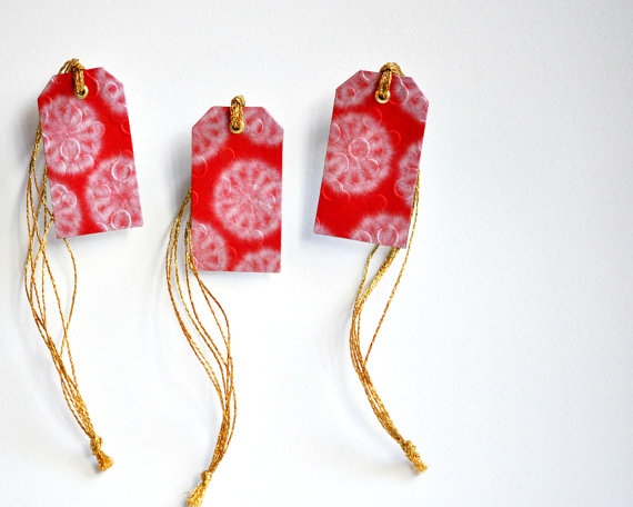 Christmas In July Gift Tags.Luxe Japanese Gift Tags Red W Gold Metallic Ties