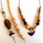 Make it yourself 3 necklaces gift kit- indigo blue ceramic bird and wood beads